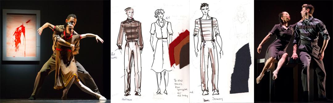 Costume design renderings by Branimira Ivanova for The Impossible by Resident Choreographer Alejandro Cerrudo. Photos by Todd Rosenberg.