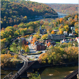 Harpers Ferry, West Virginia, at the confluence of the Shenandoah and Potomac Rivers