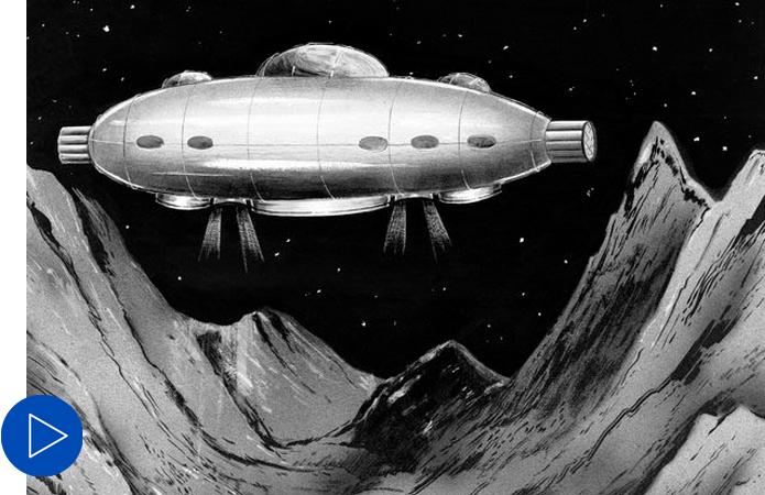 Moon ship drawing for Hayden Planetarium, 1952
