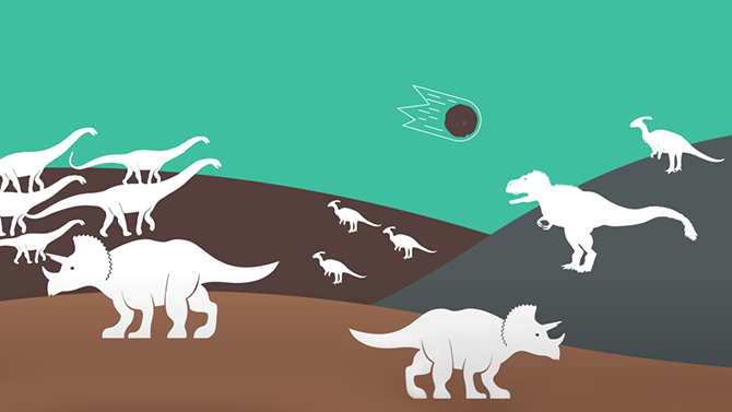 Rendering of a late-Cretaceous asteroid impact that may have led to the extinction of non-avian dinosaurs.