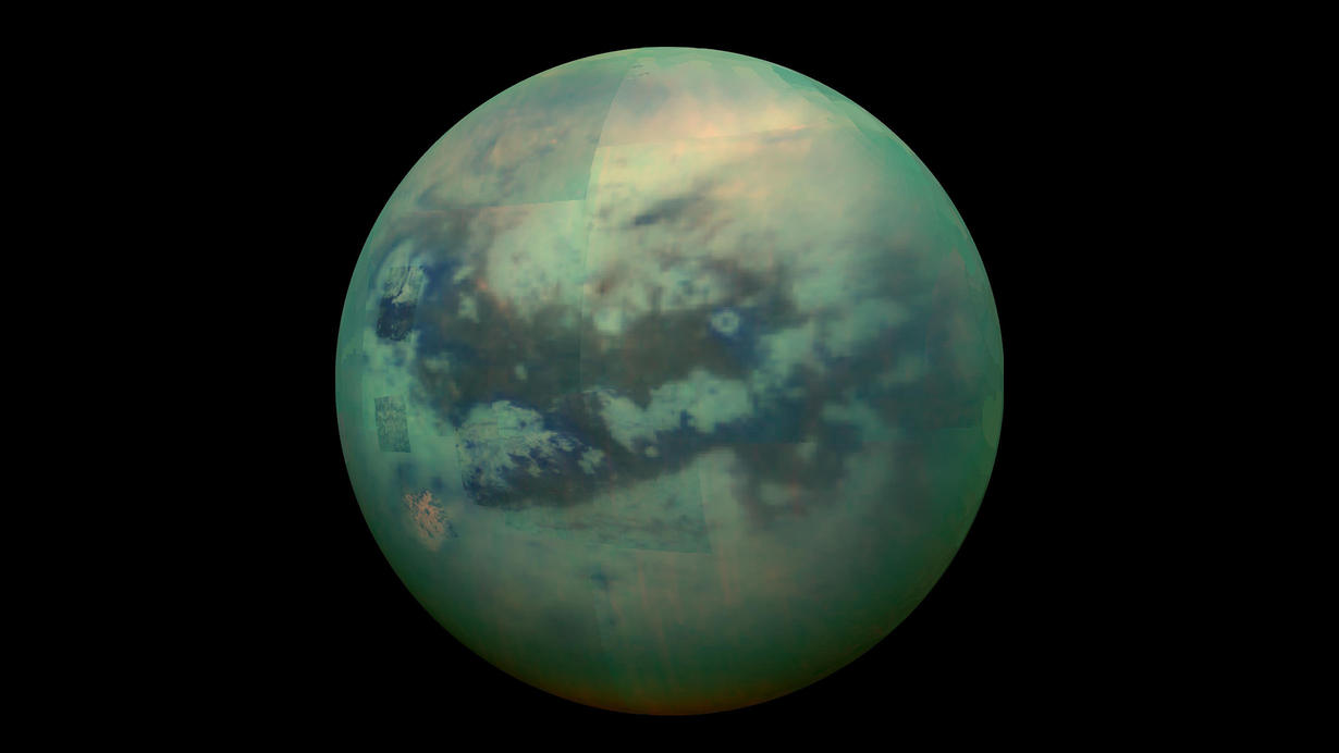 The surface of Saturn's moon, Titan, as seen from space.