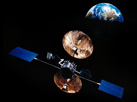 Rendering of a satellite in space, with Earth in view behind it.