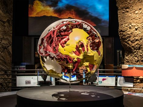 Large sphere that displays Earth's convection patterns and other displays in the Hall of Planet Earth.