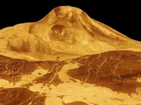 Mountain-like volcano protrudes from the surface of Venus.