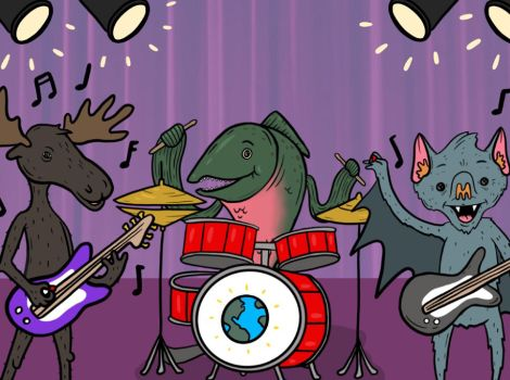 Cartoon-style illustration of a moose playing the bass, a fish playing drums, and a bat playing the guitar.