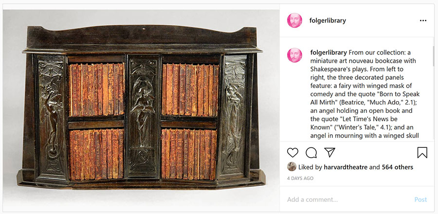 Instagram post featuring miniature books