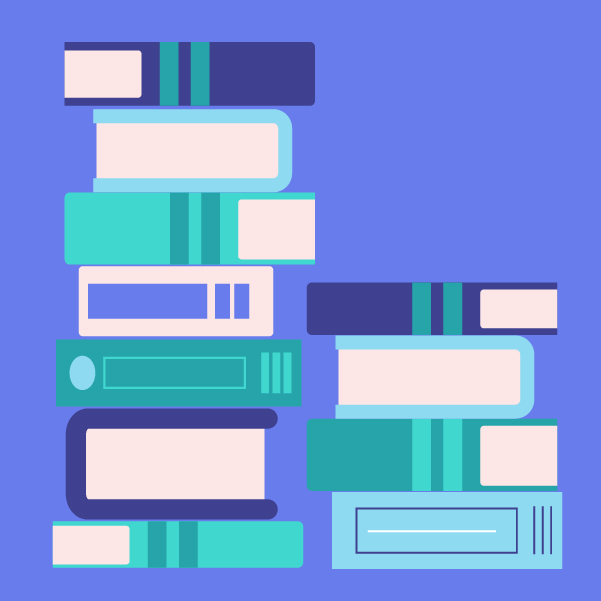 Graphic illustration of a stack of books in purple, aqua, and white