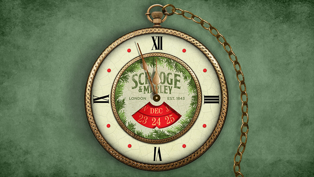 """A pocket watch with a gold chain sits on a marbled green background. The face of the watch reads """"Scrooge & Marley, London, Est. 1843"""" and features a date dial set to December 24. The watch hands are a few minutes away from striking midnight."""