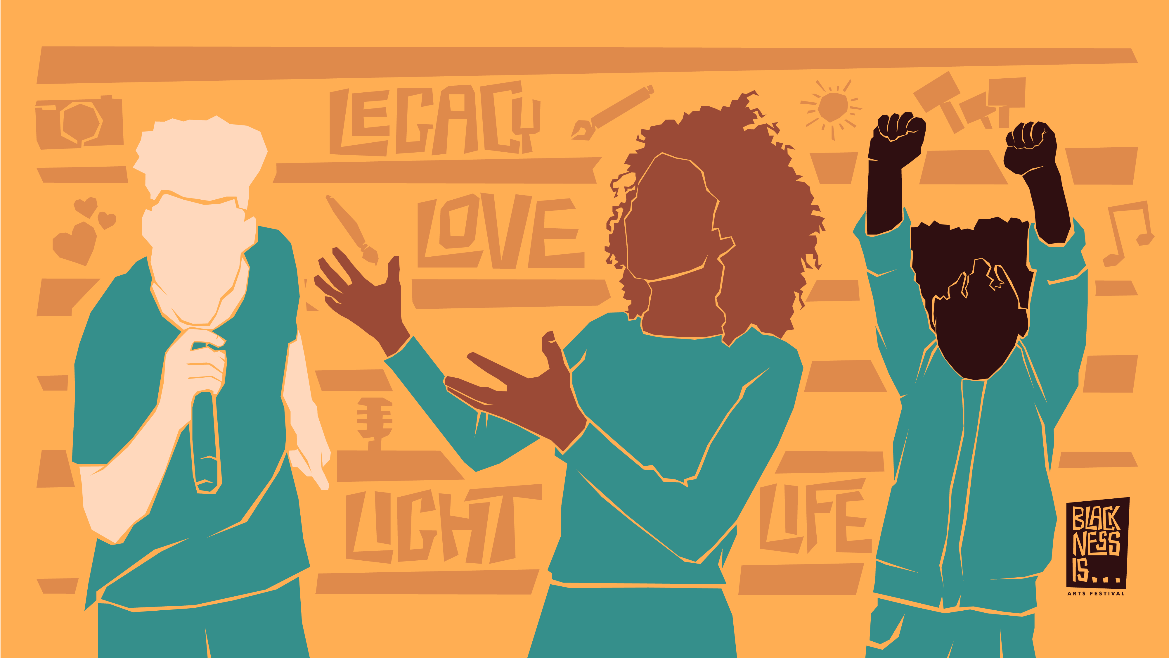 """A yellow abstract illustration of three Black artists dressed in teal clothing, including a person holding a microphone, a person gesturing to the right with their hands and a person pumping their fists above their head. In the lower right corner, a small brown graphic reads """"BLACKNESS IS… Arts Festival."""""""