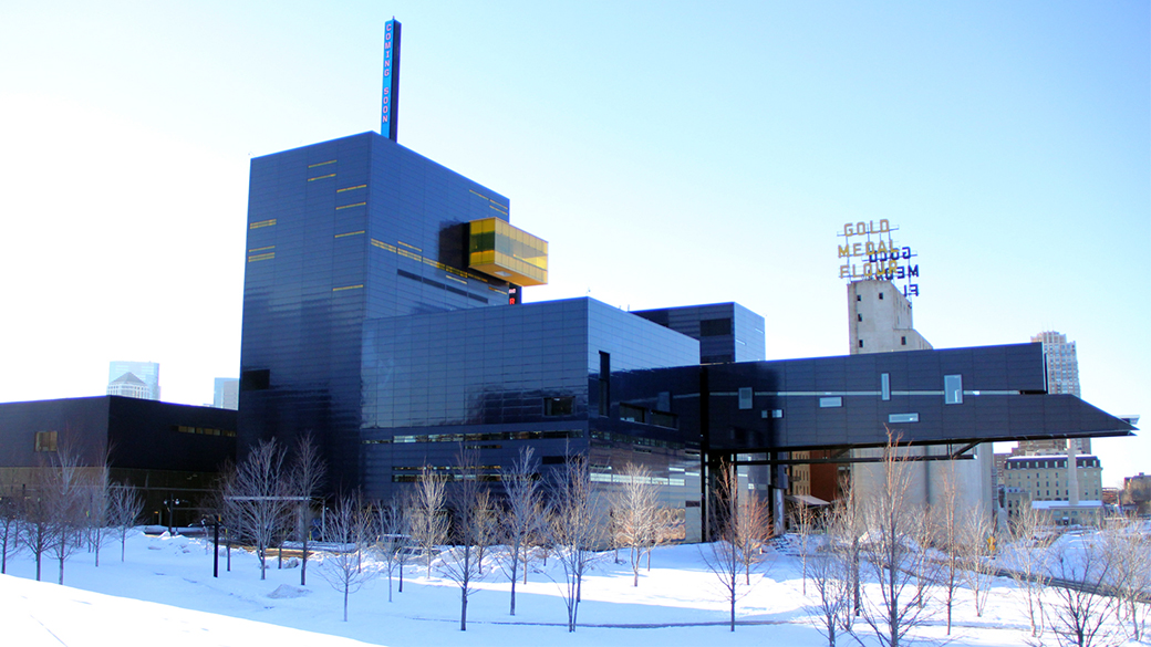 A photo of the exterior of the Guthrie building surrounded by snow.