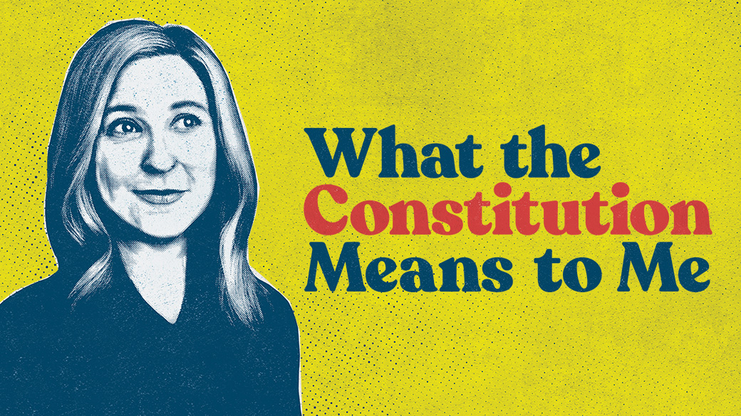 """A blue illustrated image of actor Cassie Beck sits against a yellow, newsprint-textured background. On the right, blue-and-red text reads """"What the Constitution Means to Me."""""""