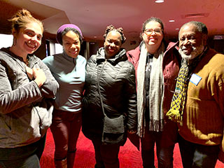 'Pike St.' playwright Nilaja Sun (second from left) chats with Neighborhood Ambassadors (L-R) Jolie Medina, Michelle McFarland (Hartford Public Library), Laurie Bompart, and Willie Mann