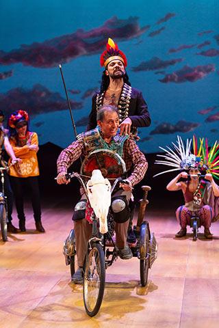 Emilio Delgado (front), Hugo E. Carbajal and the cast of Quixote Nuevo