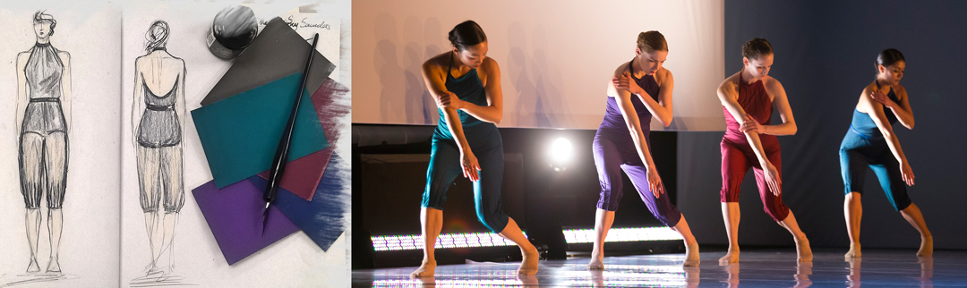 Left: Costume design renderings by Branimira Ivanova for Out of Keeping. Right: Hubbard Street Dancers in Out of Keeping by Penny Saunders, from left: Jessica Tong, Emilie Leriche, Alice Klock, and Alicia Delgadillo. Photo by Todd Rosenberg.