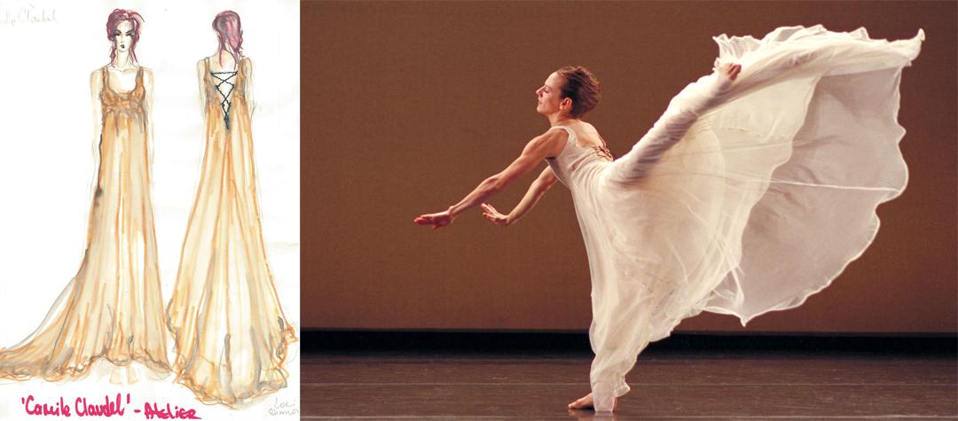 Left: Costume design rendering by Branimira Ivanova for Atelier. Right: Lauri Stallings in Atelier by Lucas Crandall. Photo by Todd Rosenberg.