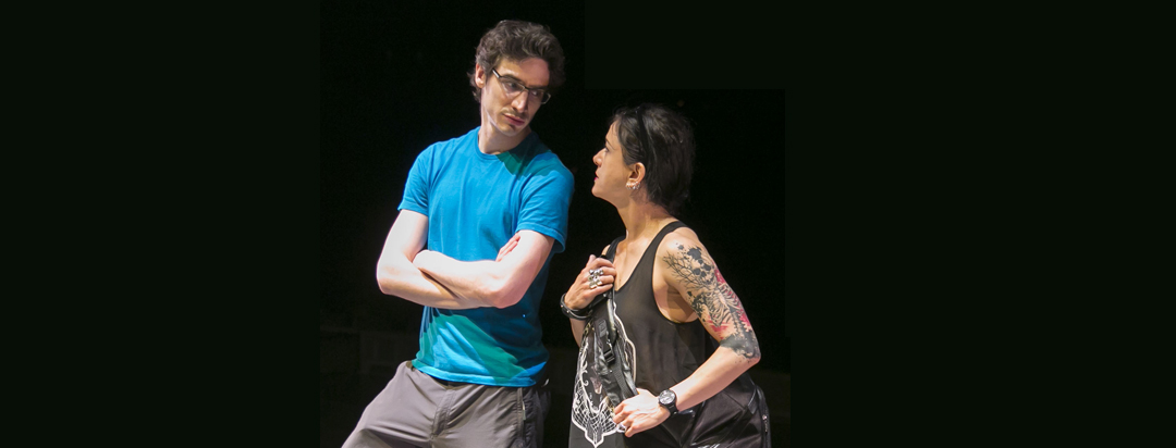 Hubbard Street Resident Choreographer Alejandro Cerrudo, left, and Costume Designer Branimira Ivanova meet onstage at the Harris Theater during dress rehearsal for the world premiere of Cerrudo's work, The Impossible. Photo by Todd Rosenberg.