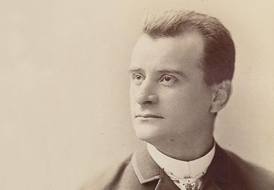 Sepia-toned portrait of a man