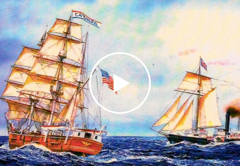 Illustration of two 1800s-era ships at sea, one large with an American flag, the other smaller with an Australian flag