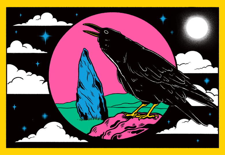 Illustration of a crow with its beak open against an abstract night sky