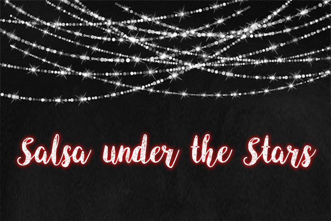 Salsa Under The Stars with string lights on black background