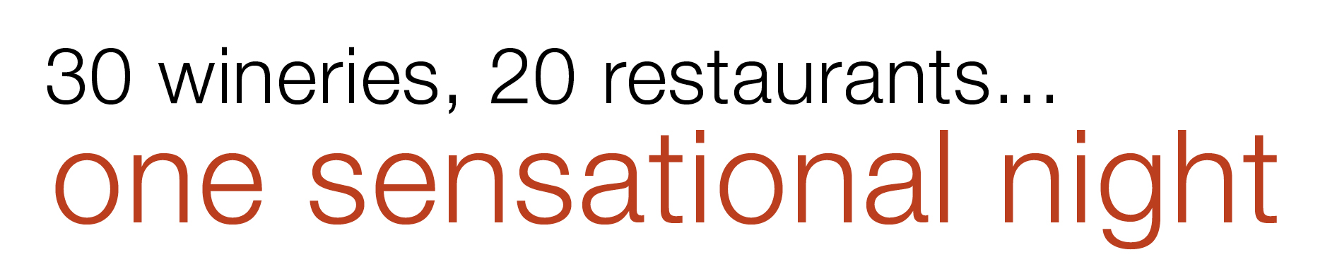 30 wineries, 20 restaurants...one sensational night!