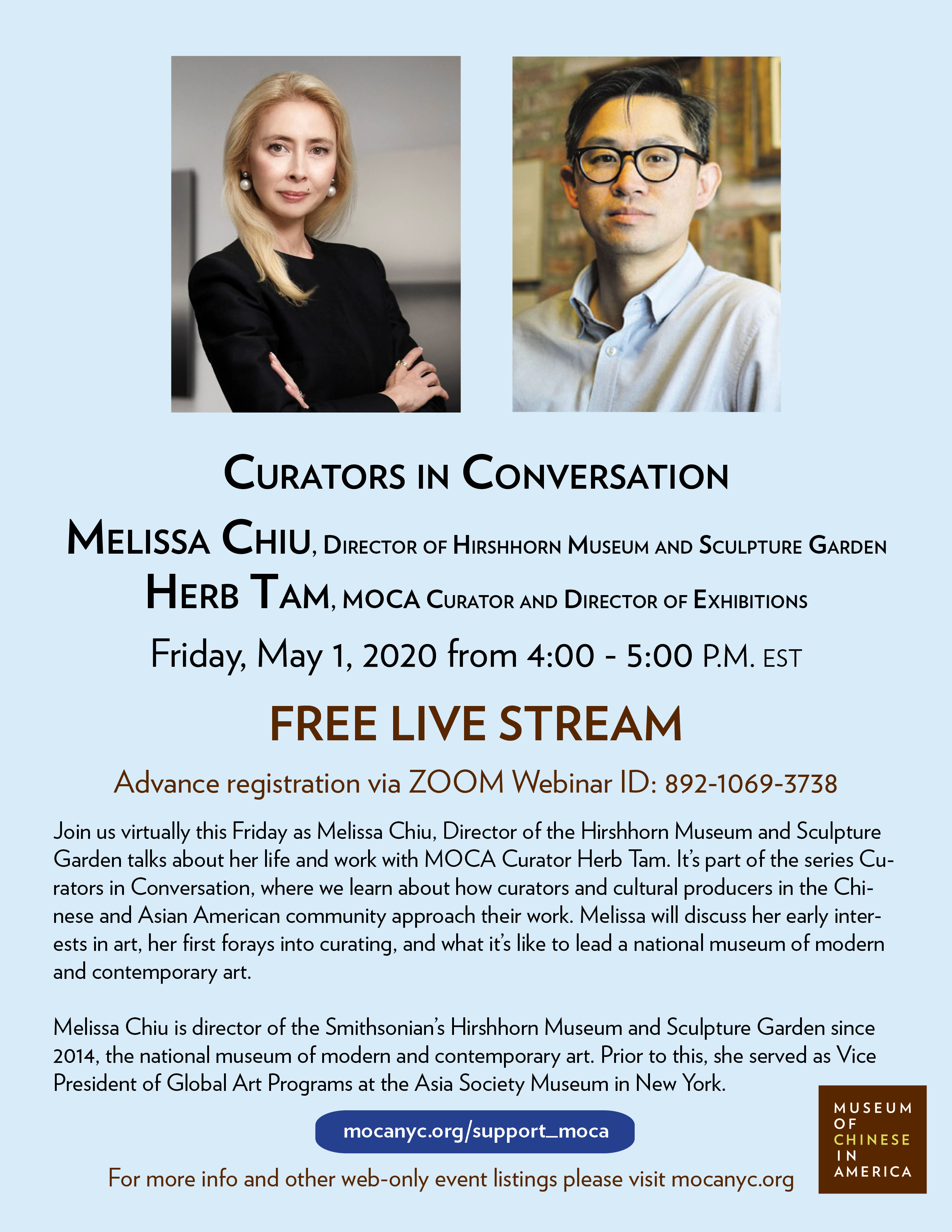 [LIVE STREAM] Curators in Conversation: Melissa Chiu, Director of Hirshhorn Museum and Sculpture Garden