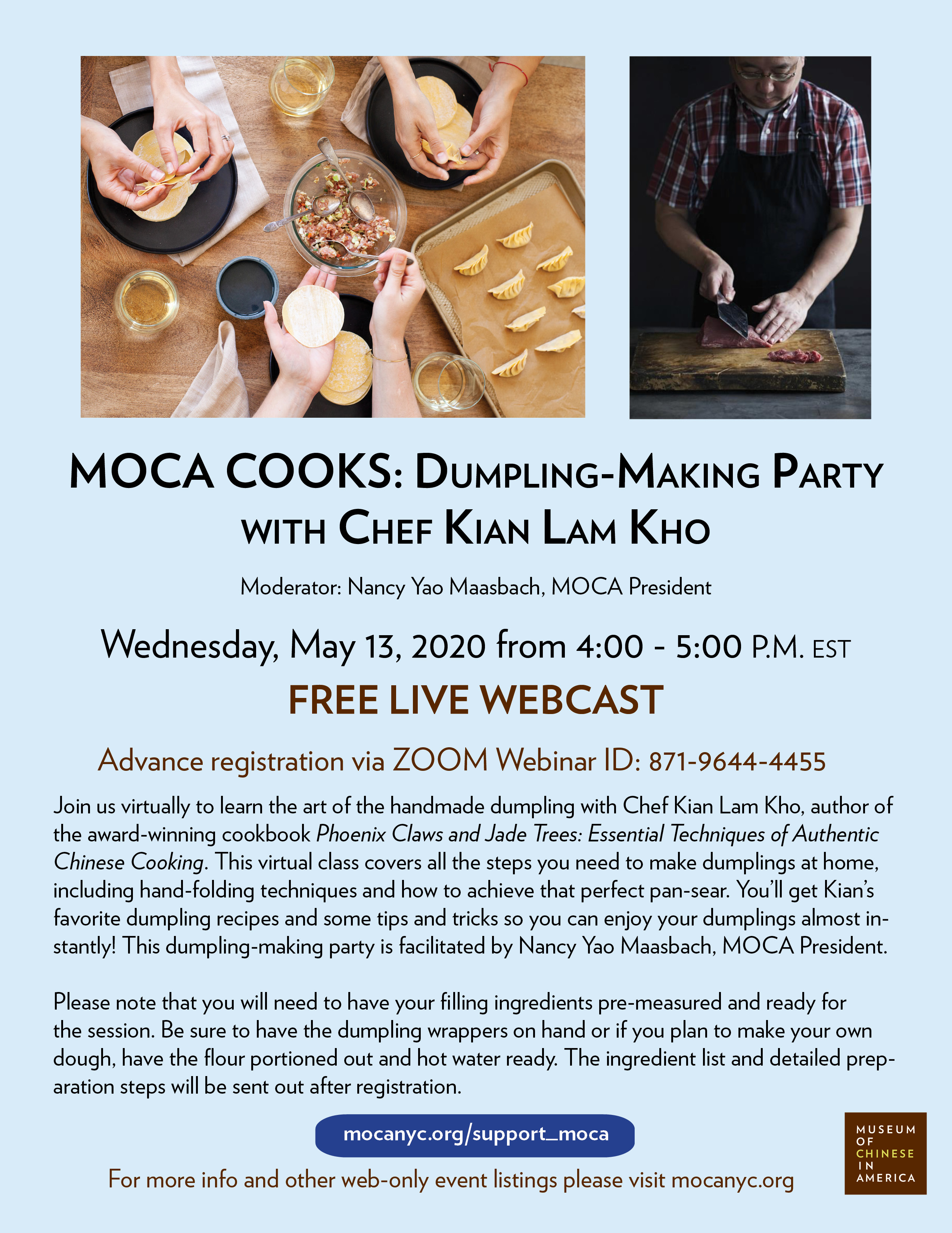 [LIVE STREAM] MOCA COOKS: Dumpling-Making Party with Chef Kian Lam Kho