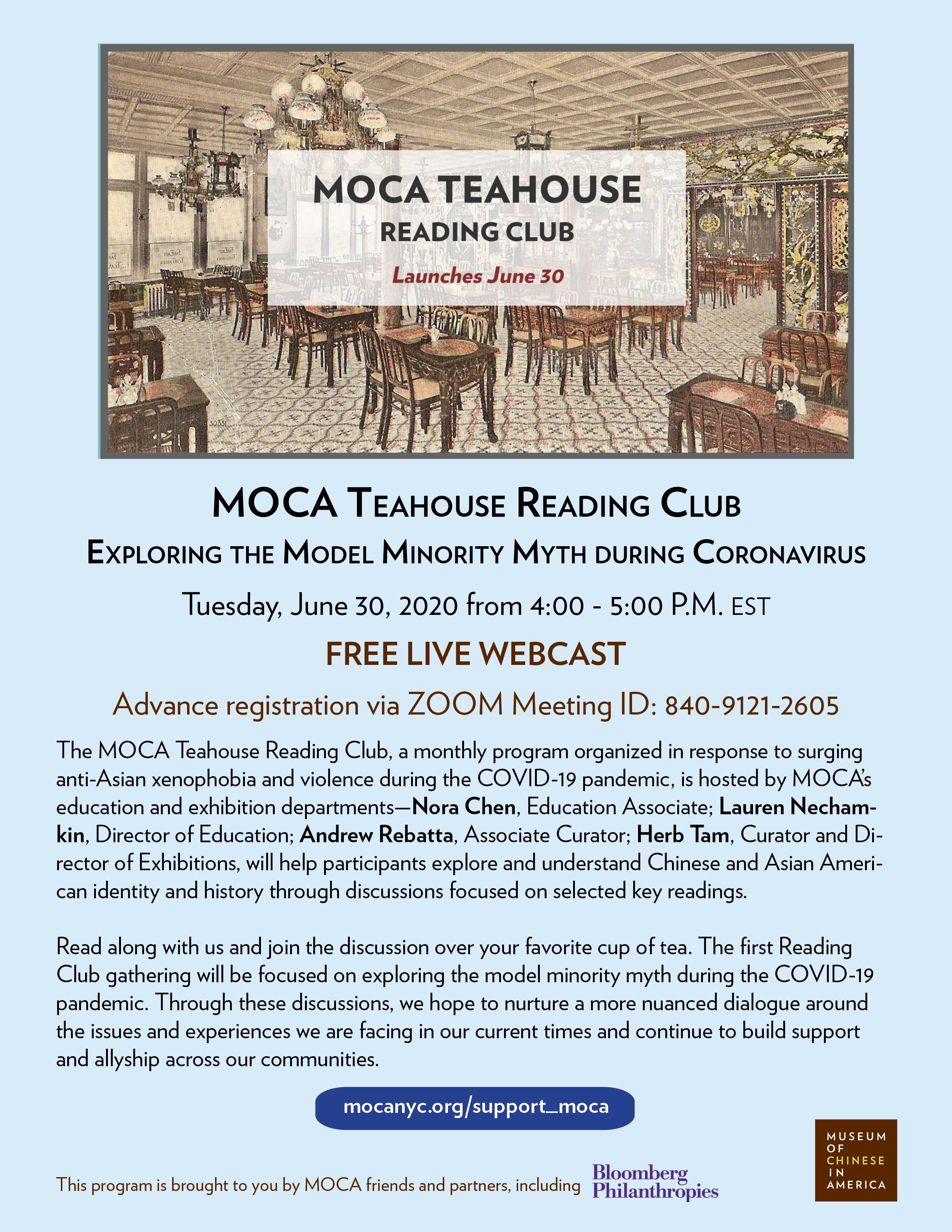 MOCA Teahouse Reading Club: Exploring the Model Minority Myth during Coronavirus