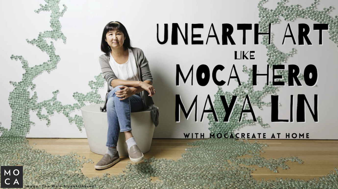 Architect Maya Lin seated in front of one of her artworks