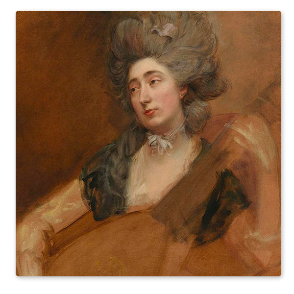 Detail from Thomas Gainsborough, 'Margaret Gainsborough holding a Theorbo', about 1777. © Image courtesy of the National Portrait Gallery, London