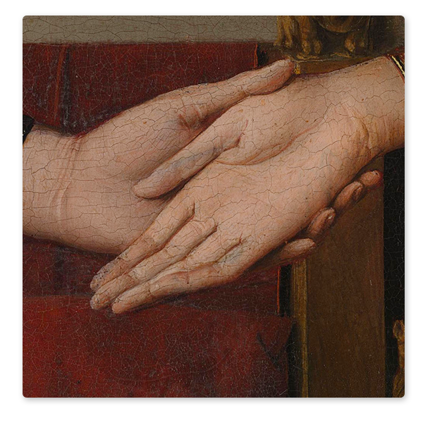 Detail from Jan van Eyck, 'Portrait of Giovanni(?) Arnolfini and his Wife', 1434 © The National Gallery, London