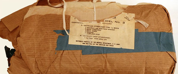 First aid parcel for front line use in World War I.