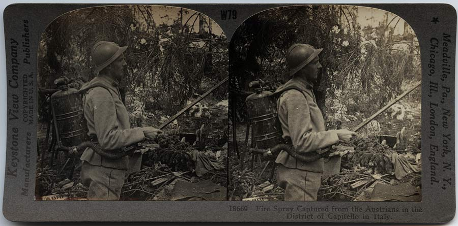 Stereoscope card showing Austrian flamethrower captured in Italy, full description on back of card.