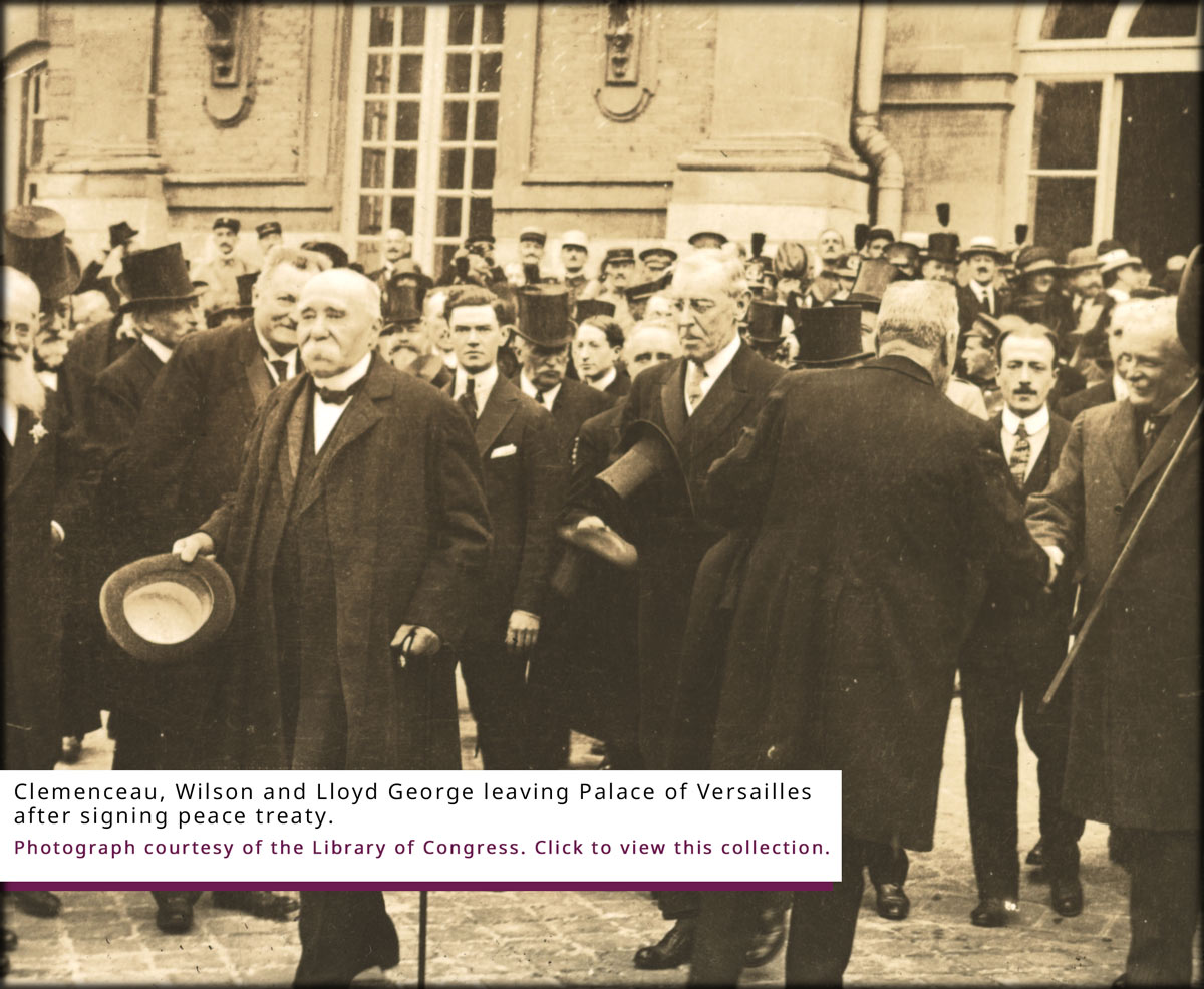 Clemenceau, Wilson and Lloyd George leaving Palace of Versailles after signing peace treaty