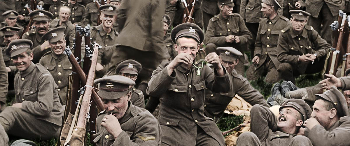 Colorized still from They Shall Not Grow Old film