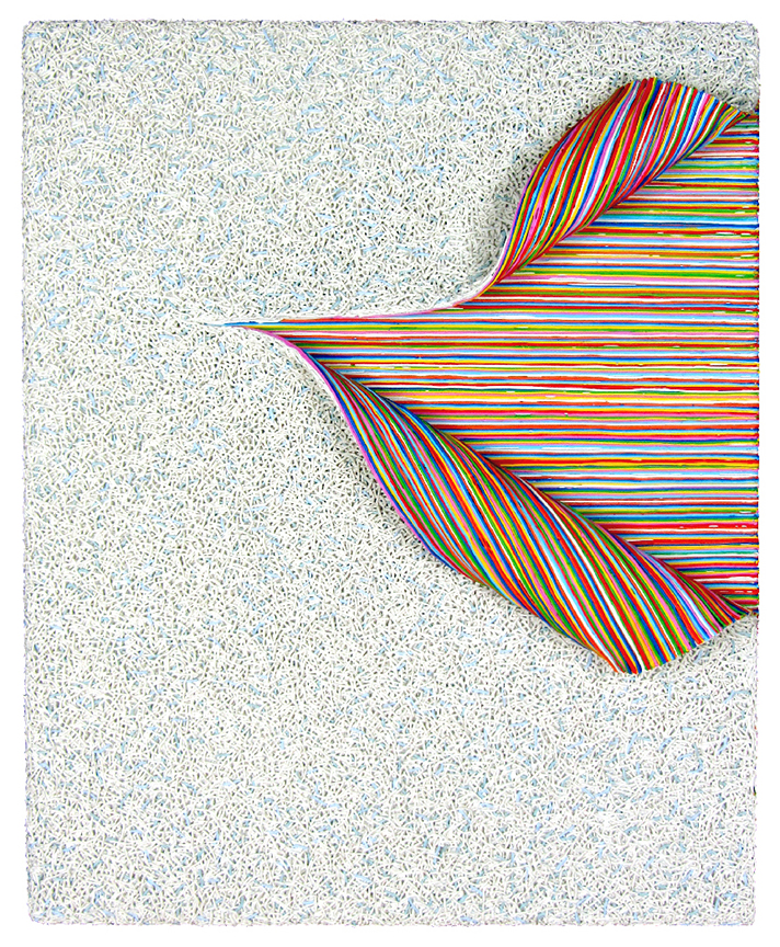 Interwoven layers of strings of white paint split and peel revealing horizatonal strands of paint in rainbow colors.