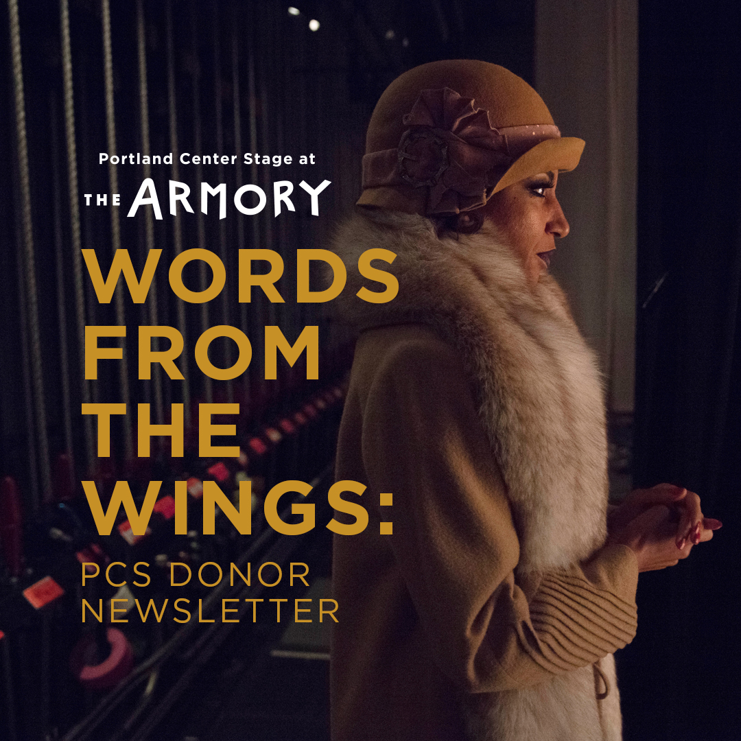 Graphic image with title Words From The Wings and photo of actor preparing to enter the stage.
