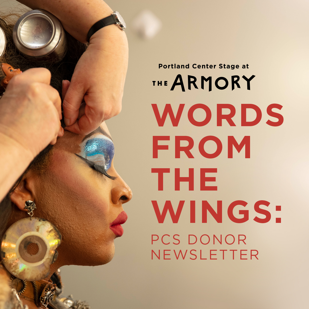 Graphic image with title Words From The Wings and profile photo of actor having their wig placed.