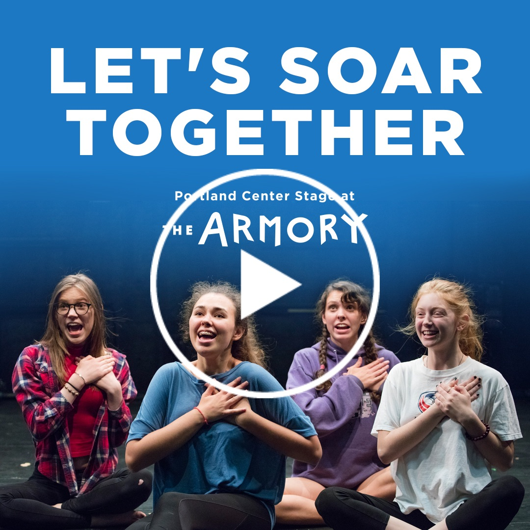 Graphic with title Let's Soar Together featuring four youth actors in a workshop, seated and smiling with joy as they hold their hands to their hearts.