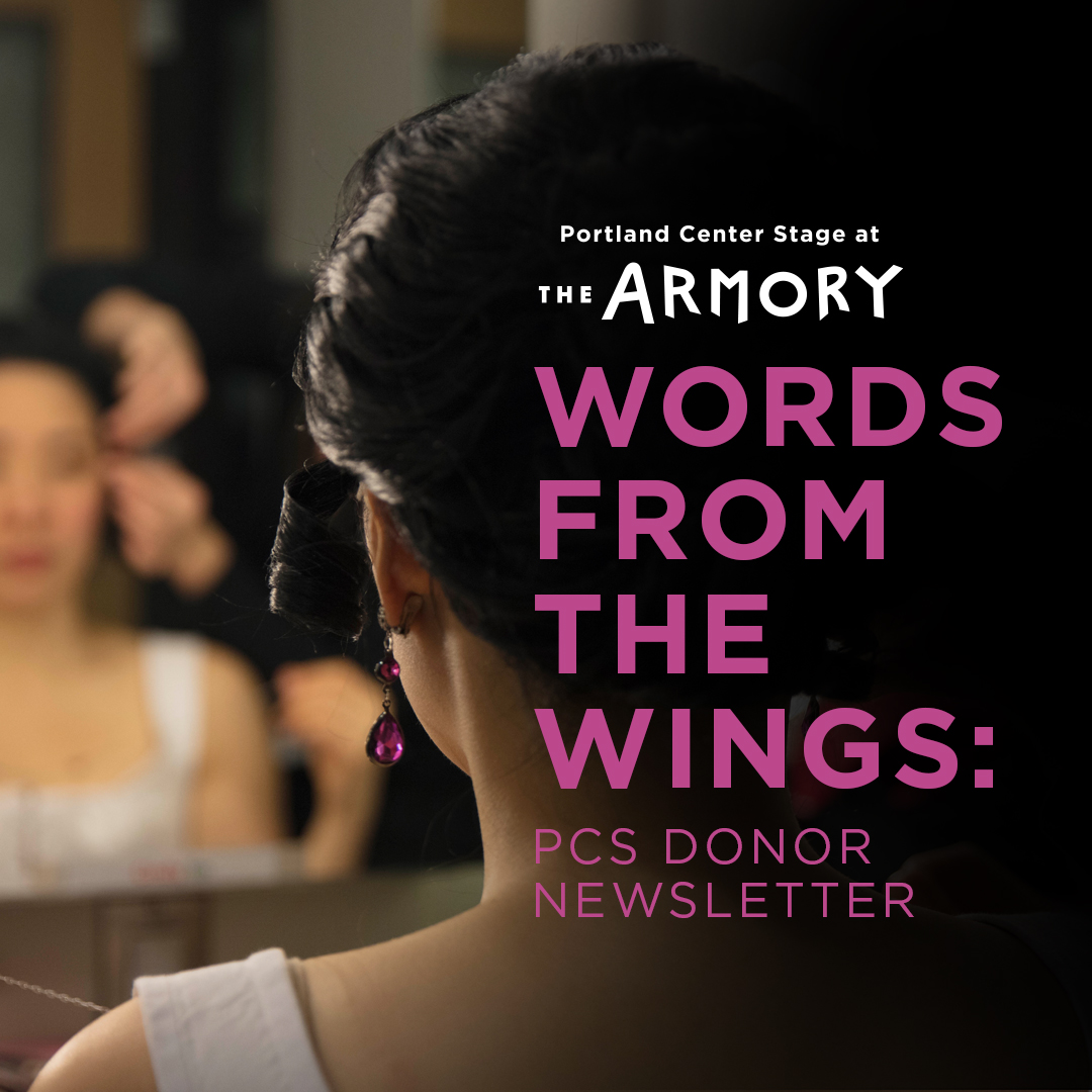 Title Words From The Wings and photo of actor backstage.