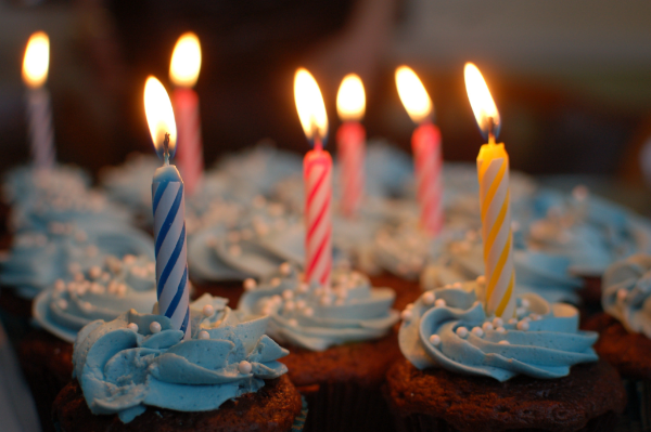 image of cupcakes with birthday candles