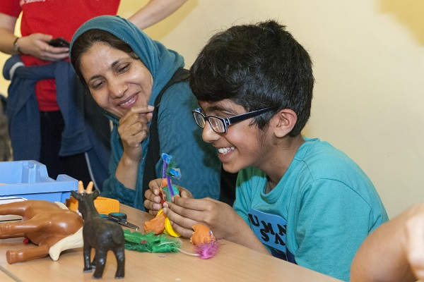 Boy and Mum interacting at VIscovery Day