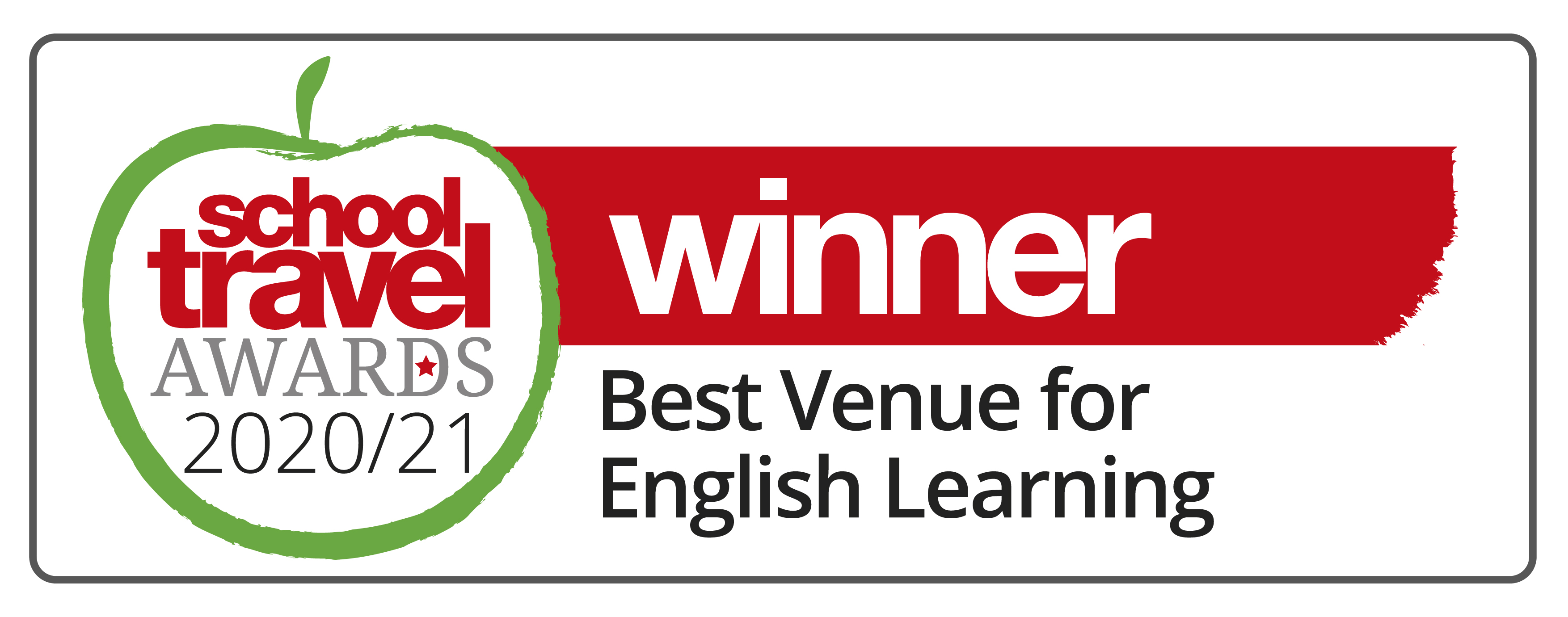 [IMAGE] School Travel Awards 2020/21 logo with text reading: Winner - Best Venue for English Learning