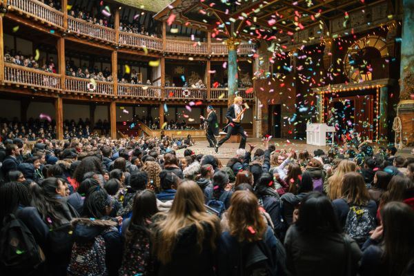 [IMAGE] Confetti fills the Globe Theatre in a previous production of Playing Shakespeare with Deutsche Bank.