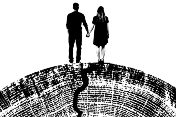 [IMAGE] Actors playing Romeo and Juliet face away from us holding hands in silhouette on top of an image of the rings of a tree with a crack running through them.
