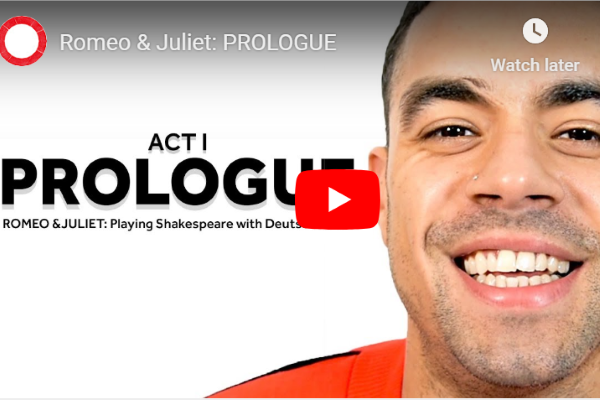 [IMAGE] A thumbnail image of a YouTube video with an actor's smiling face on one side and the words 'Act I Prologue' on the other.