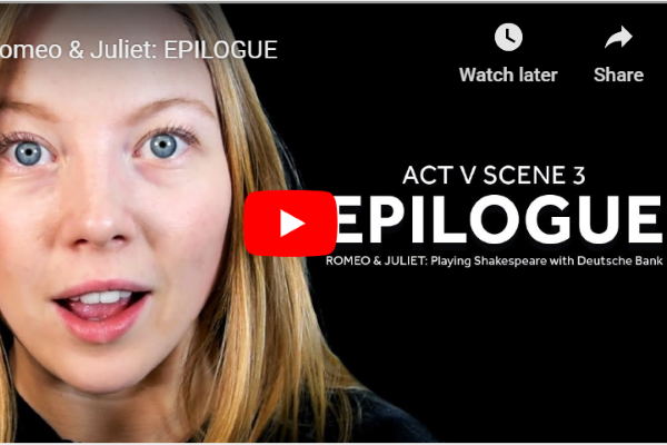 [IMAGE] A thumbnail of a YouTube film with an actresses face on one side and the words ' Act V Scene 3 Epilogue' on the other.