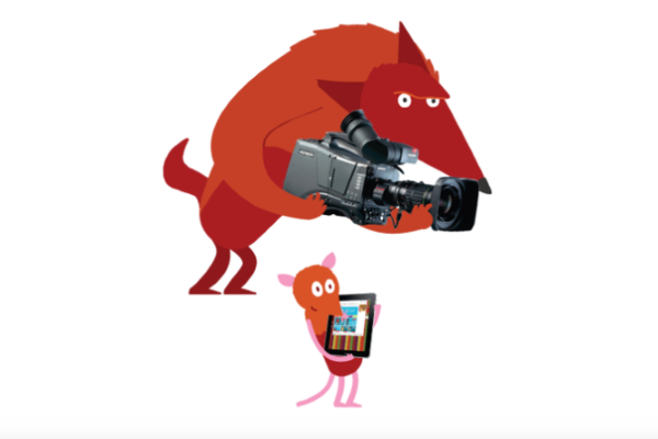 [IMAGE] A cartoon fox and mouse holding a camera and tablet.