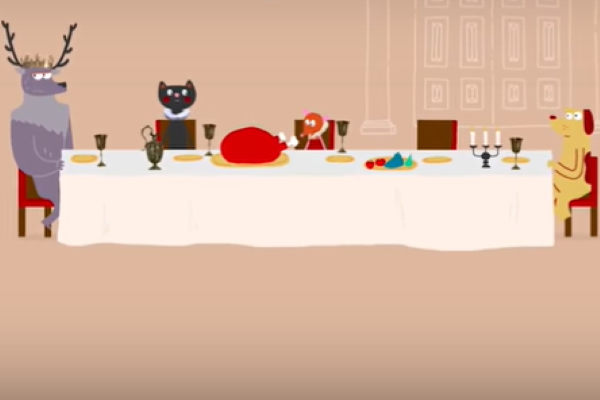 [IMAGE] An illustration of animals at a feast.