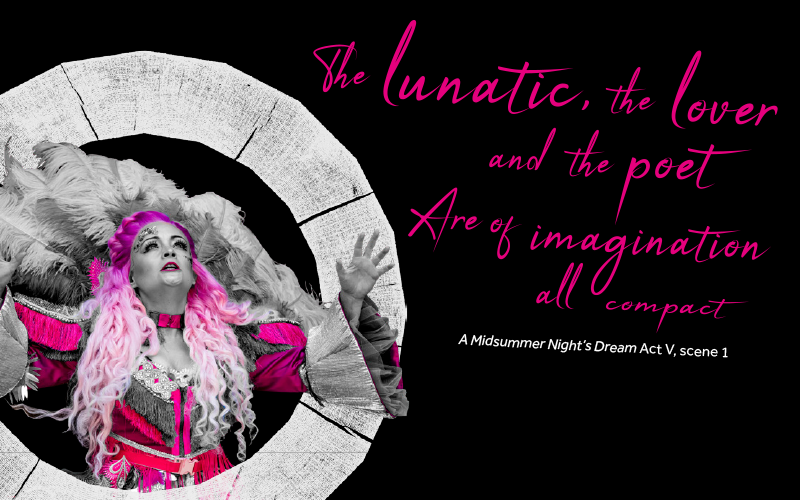 [IMAGE] Photos of a woman looking upwards with her arms wide open and the text 'The lunatic the love and the power are of imagination all compact'